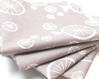 FREE OFFER Reusable ORGANIC Cloth Napkins - Set of 4- Birch  - Birdie Spokes - Grey