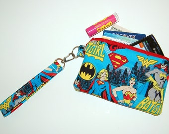 Wristlet Purse with Removable Strap and Interior Pocket - Handcrafted from Girl Power Fabric (Blue)