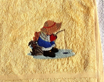 Little Fisherman Embroidered Hand Towel
