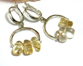 Citrine Silver Earrings, Citrine Earrings,  November Birthstone, Citrine Jewelry, Yellow drop Earring, Birthstone Jewelry, Dangle Earring