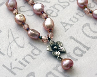 Pink Pearl and Sterling Flower Necklace, Pastel Pearl Flower Necklace, Pink Pearl and Crystal Necklace, Pink Pearl Bridal Necklace