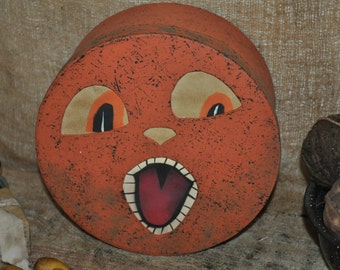 Primitive Folk Art Jack O Lantern Pumpkin Paper Mache Box Painted Paper Eyes Mouth and Nose