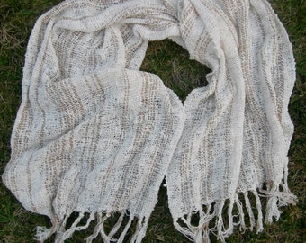 Hand woven Organic cotton Lacey Shawl NEUTRALS