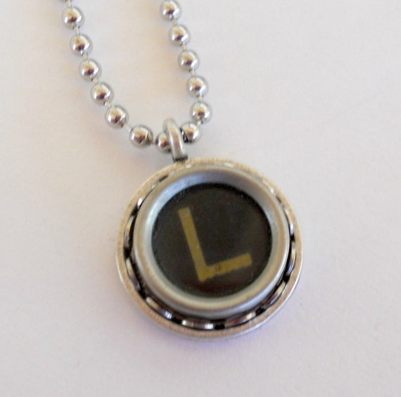 typewriter key necklace letter l vintage initial jewelry