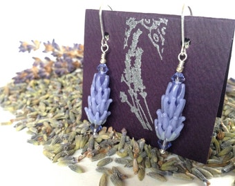 Pale Purple Lavender Glass Bead Earrings with Dried Lavender Sachet Buds