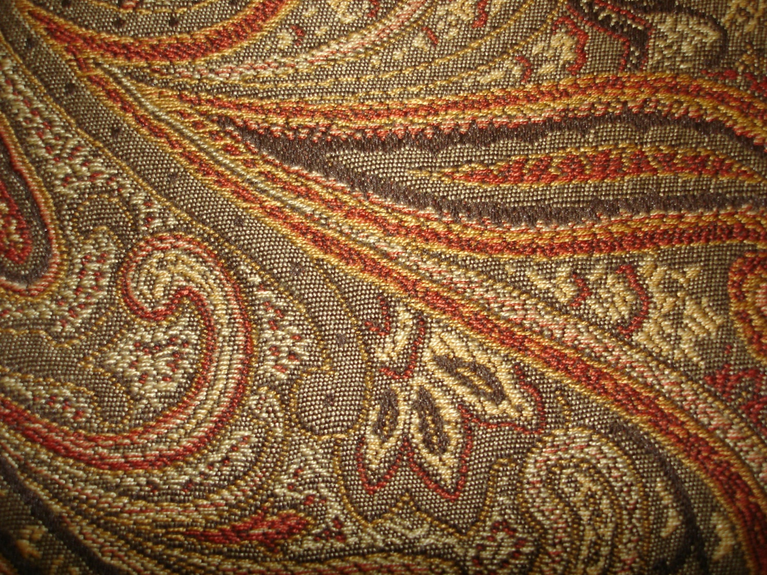 Italian Woven Paisley Upholstery Fabric Spice High End