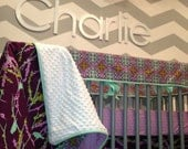Custom Aviary 2 Lilac Palette made with Joel Dewberry Complete Boutique Crib Bedding Set BUMPERLESS