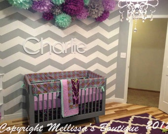 Custom Purple Lilac Mint/Aqua MOD Floral Quatrefoil Sparrow Boutique Crib Bedding Set BUMPERLESS