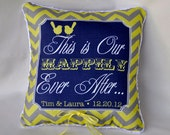 Ring Bearer Pillow - Happily Ever After  -  Love Birds - Chevron - Fairy Tale - Customize to your Wedding