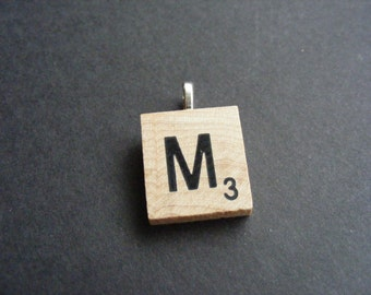 M Scrabble Tile Initial Pendant, Your Choice