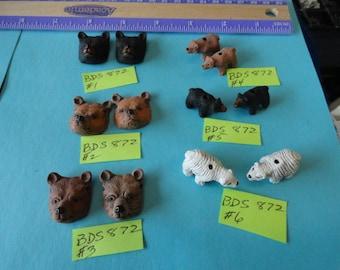 Choose your Detailed Ceramic  Bear Head beads or Polar bear, Black or Brown Bear BDS 872