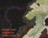 Wytch One   -  Hand Hooked Rug  Halloween Kitchen Witch with Moon  Pumpkins