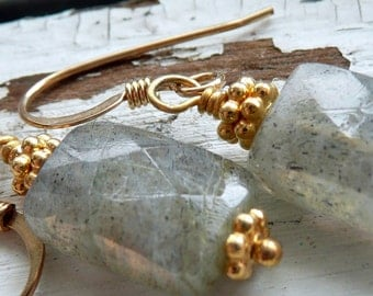 Grey Skies Labradorite Gold Vermeil OOAK Gypsy Bohemian Dangle Earrings