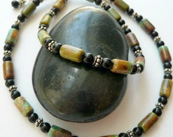 American Mined Green Brown Turquoise Onyx Sterling Silver Southwestern Western OOAK Artisan Unisex Tribal Boho Gift for Him/Her Necklace