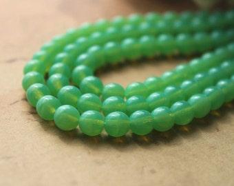 Jade Green Opal Czech Glass Beads Round Druk Milky 6mm (30)