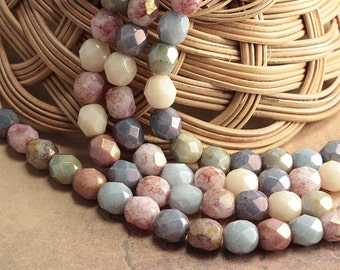 Opaque Luster Mix Czech Glass Fire Polished Round Beads Picasso 6mm (25)