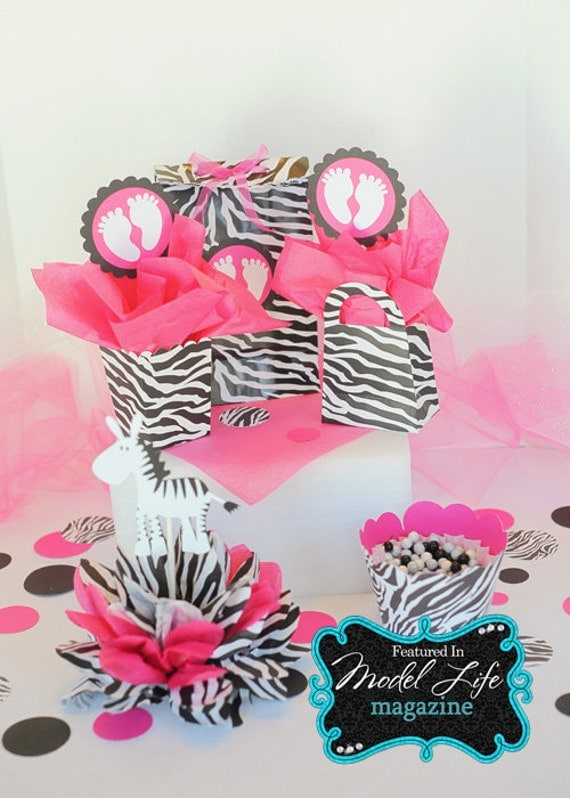 RESERVED for Lisha baby shower package zebra print table decorations