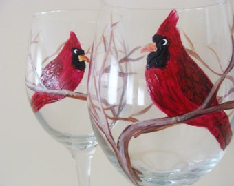 Cardinal Wine Glasses,Red Cardinal,bird,Christmas,Wedding present,housewarming gift,bird lovers,bird watchers,entertaining,glass art,dining,
