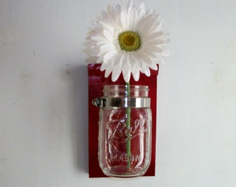 Retro Wild Cherry Red Flower Wood Wall Mason Jar Shelf