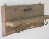 Double Handle Barnwood Coat Rack and Shelf