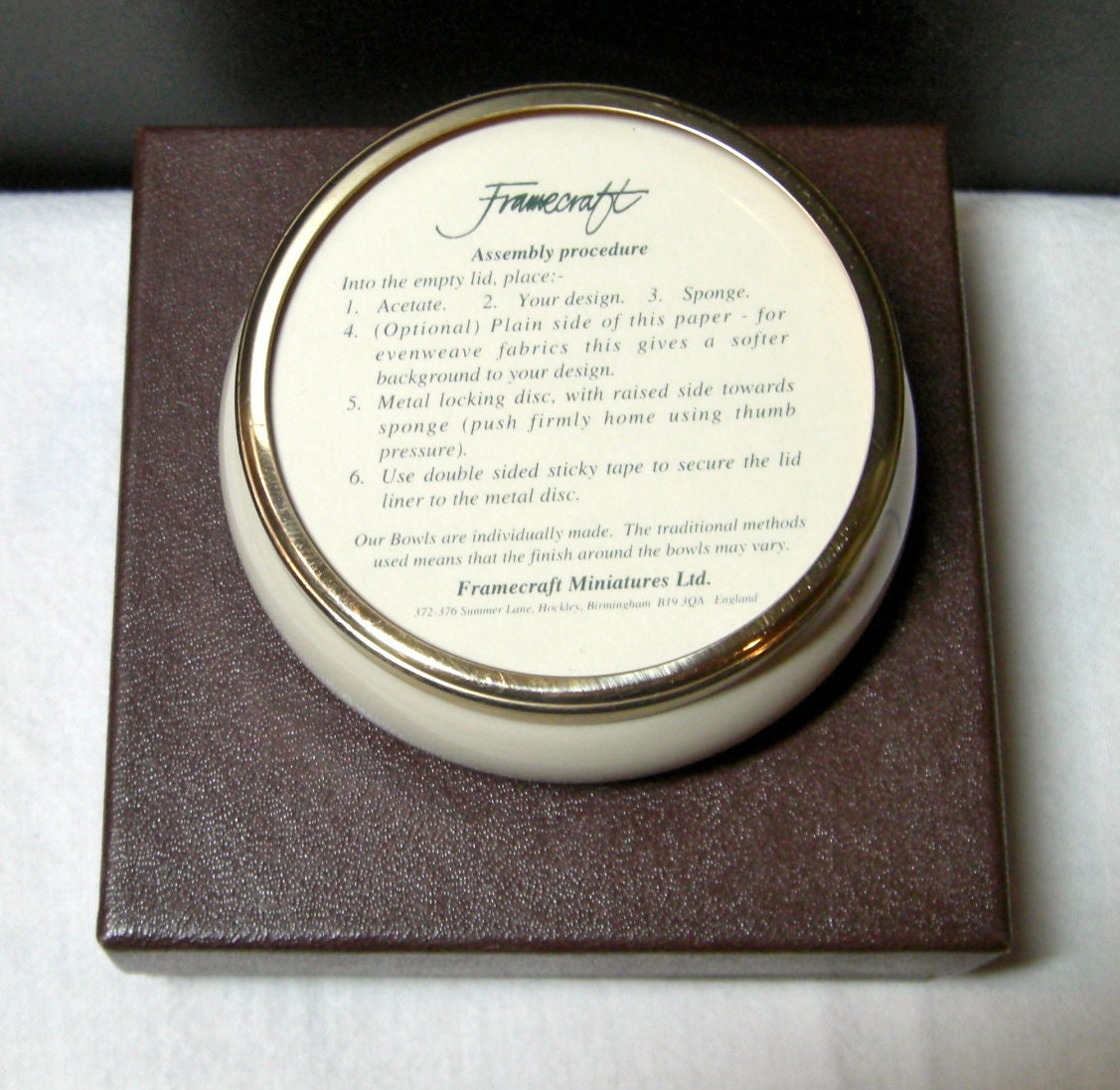 Framecraft Trinket Box Customize With Your Needlework Round