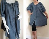 Custom Made Marble Blue Soft Cotton Boho  Hippie Sweet Loose Casual Blouse  M-L  (H)