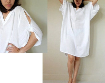 Custom Made My  simply White Soft Cotton  Short Loose  Tunic  Dress one fit all most (H)