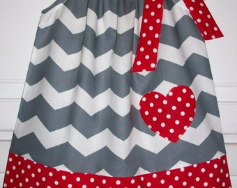 Pillowcase Dress Sweetheart Chevron Dress Grey with Red Heart Girls Dress baby dress toddler dress Valentines Clothes Valentines Day Dress