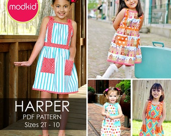 Harper Dress PDF Downloadable Pattern by MODKID... sizes 2T to 10 Girls included - Instant Download