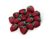 Strawberry Beads, Polymer Clay Fruit Beads, Red Berry 15 pieces