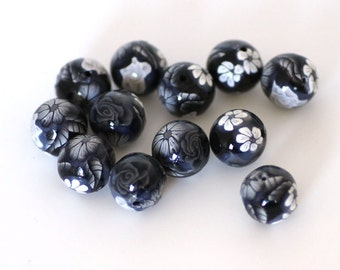 Black and White Polymer Clay Round Bead Dozen, 12 Pieces - Made to Order