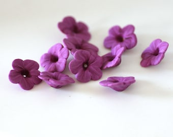 Pale Violet Beads, Polymer Clay Flowers, Purple Beads, Flower Beads 10 pieces