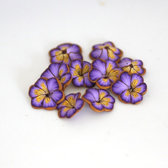 polymer clay pansy beads
