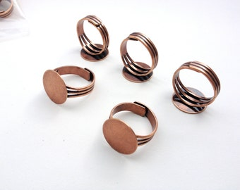 Antique Copper Plated Adjustable Rings - 10 Pieces