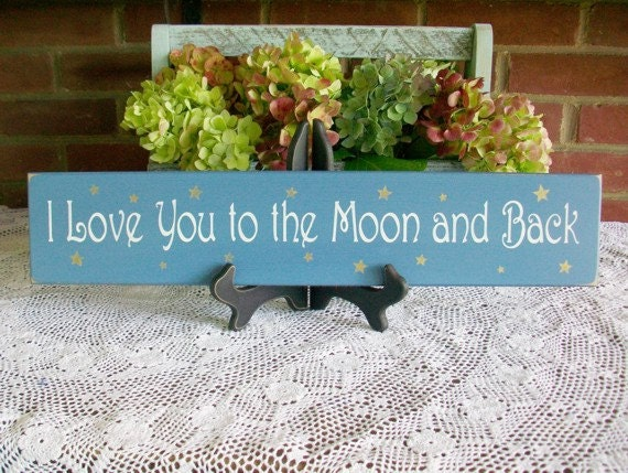 Wood Sign I love you to the moon and back Valentine Wedding Wall Decor Nursery