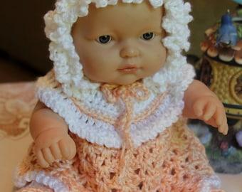 Crochet outfit Berenguer 11 12 13 14 inch baby doll Dress Set Peach White Victorian Bonnet