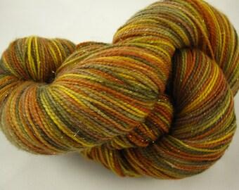 Merino, Nylon and Stellina Sock Yarn-Fingering Weight-Hand Dyed Superwash-438 Yards, 100 grams
