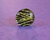 Tie Tack, Men's Lapel Pin, Gold Dichroic Fused Glass, Men's Jewelry - Pullman - 051 -3