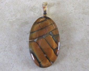 Earthy Pendant, Reddish Brown Fused Glass Pendant, Earthy Jewelry, Ready to Ship, Fused Glass Jewelry - Gardiner - 4063 -3