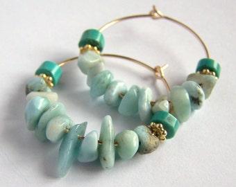 Larimar and Turquoise Hoop Earrings 14k Gold Filled Boho Bohemian, natural rustic blue stone, pink owl jewelry, vermeil gipsy hoops medium
