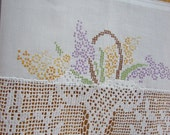 Vintage Embroidered Cross Stitched Linen Cotton Pillowcase Recycled to Upcycled Kitchen Tea Towel Home Decor