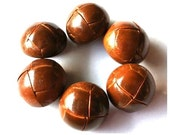 SALE-Leather buttons, 60 vintage brown leather buttons, 23mm