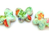 Butterfly  shape 3 BEADS, turquoise with trims 21mmX18mm