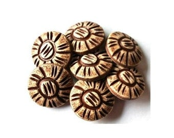 6 Vintage flowers buttons brown plastic  18mm, shank buttons