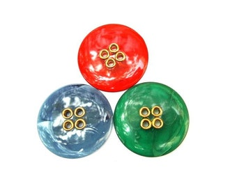 3 Plastic buttons green, red, blue 38mm 4 holes with gold color circle, might be vintage