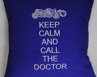 Keep Calm and Call the Doctor Embroidered Pillow Case Cover inspired by Doctor Who