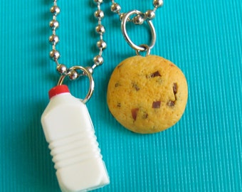 BFF Cookie and Milk - best friend set - milk and cookies - best friend necklaces - milk charm - cookie charm - breaKFAST JEWELRY - BREAKFAST
