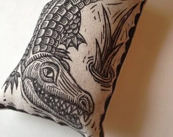 Novelty Pillow, Fiber Art, Small Alligator Hand Printed Novelty Linen Pillow