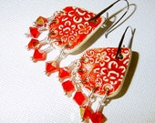 Refined Ruby Ceramic Earrings with Swarovski Crystal Dangles - judesjujus
