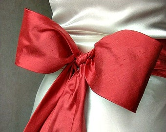 Agnes coral dupioni silk obi / sash belt